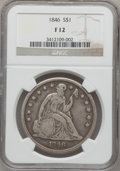 Seated Dollars: , 1846 $1 Fine 12 NGC. NGC Census: (2/367). PCGS Population (2/476).Mintage: 110,600. Numismedia Wsl. Price for problem free...
