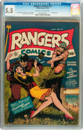 Golden Age (1938-1955):War, Rangers Comics #13 (Fiction House, 1943) CGC FN- 5.5 Off-white towhite pages....
