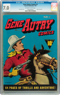 Gene Autry Comics #2 (Fawcett, 1942) CGC FN/VF 7.0 Off-white to white pages