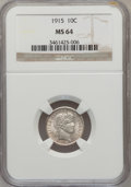 Barber Dimes: , 1915 10C MS64 NGC. NGC Census: (93/48). PCGS Population (111/55).Mintage: 5,620,450. Numismedia Wsl. Price for problem fre...
