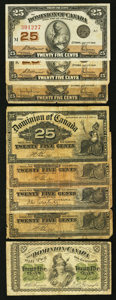 Canadian Currency: , Canadian Shinplasters Very Good or Better.. ... (Total: 8 notes)