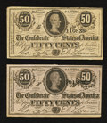Confederate Notes:1864 Issues, T72 50 Cents 1864 Two Examples.. ... (Total: 2 notes)