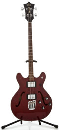 Musical Instruments:Bass Guitars, Guild Starfire II Wine Red Electric Bass Guitar, Serial Number #AG100034....