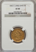 Liberty Half Eagles: , 1842-C $5 Large Date XF40 NGC. NGC Census: (9/84). PCGS Population(10/55). Numismedia Wsl. Price for problem free NGC/PCG...