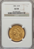 Liberty Eagles: , 1851 $10 AU58 NGC. NGC Census: (33/19). PCGS Population (2/11).Mintage: 176,328. Numismedia Wsl. Price for problem free NG...