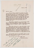 Autographs:Authors, Lowell Thomas Letter Signed...