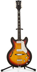 Musical Instruments:Electric Guitars, 1960's Vox Super Lynx Sunburst Semi-Hollow Body Electric Guitar, Serial Number #313107....