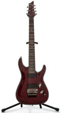 Musical Instruments:Electric Guitars, Recent Schecter Hellraiser 7-String Red Solid Body Electric Guitar,Serial Number #H090601447....