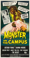 """Movie Posters:Horror, Monster on the Campus (Universal International, 1958). Three Sheet(41"""" X 81"""").. ..."""