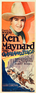 """Movie Posters:Western, The Overland Stage (First National, 1927). Insert (14"""" X 36"""").. ..."""