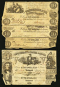 Confederate Notes:1861 Issues, T28 $10 1861 Three Examples. T37 $5 1861 Two Examples.. ... (Total: 5 notes)