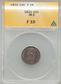 Bust Dimes: , 1820 10C Large 0 Fine 15 ANACS. JR-1. NGC Census: (2/214). PCGSPopulation (3/156). Mintage: 942,587. Numismedia Wsl. Pric...