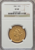 Liberty Eagles: , 1841 $10 XF40 NGC. NGC Census: (21/143). PCGS Population (28/80).Mintage: 63,131. Numismedia Wsl. Price for problem free N...