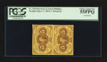 Fractional Currency:First Issue, Fr. 1230 5¢ First Issue Uncut Vertical Pair PCGS Choice About New 55PPQ.. ... (Total: 2 notes)