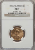 Modern Issues: , 1996-W G$5 Smithsonian Gold Five Dollar MS70 NGC. NGC Census:(334). PCGS Population (69). Mintage: 9,068. Numismedia Wsl. ...