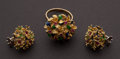 Estate Jewelry:Other , Estate Emerald & Ruby Flower Gold Ring Plus Earrings. ... (Total: 2 Items)