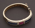 Estate Jewelry:Bracelets, Unique Ruby, Blue Sapphire & Gold Buckle Bracelet. ...