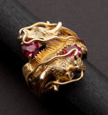 Estate Jewelry:Rings, Unusual Gents Ruby & Gold Dragon's Ring. ...