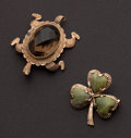 Estate Jewelry:Brooches - Pins, Two - Vintage Jade & Smoky Topaz Gold Pins. ... (Total: 2 Items)