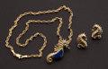 Estate Jewelry:Other , Estate Enamel & Gold Sea Horse Pendant & Earrings . ...(Total: 2 Items)
