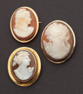 Estate Jewelry:Cameos, Three Gold Framed Shell Cameos. ... (Total: 3 Items)