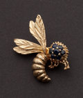 Estate Jewelry:Brooches - Pins, Blue Sapphire & Gold Bumble Bee Pin. ...