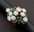 Estate Jewelry:Rings, Unusual Opal & Emerald Gold Ring. ...