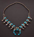 Estate Jewelry:Necklaces, Sterling Silver & Turquoise Squash Blossom Necklace. ...