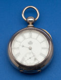 Timepieces:Pocket (pre 1900) , Elgin Coin Silver Key Wind, Fancy Dial. ...