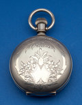 Timepieces:Pocket (post 1900), Elgin 21 Jewel Fancy Dial Father Time 18 Size Coin Silver Hunters Case. ...