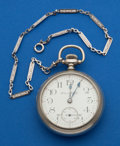 Timepieces:Pocket (post 1900), Hampden 21 Jewel North American Railway With Chain. ...