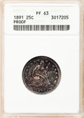 Proof Seated Quarters: , 1891 25C PR63 ANACS. NGC Census: (23/121). PCGS Population (44/94).Mintage: 600. Numismedia Wsl. Price for problem free NG...