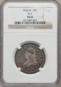 Bust Quarters, 1825/4 25C VG8 NGC. B-2. NGC Census: (2/102). PCGS Population(0/20). Numismedia Wsl. Price for problem free NGC/PCGS coin...