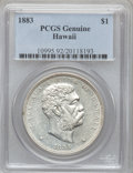 Coins of Hawaii, 1883 $1 Hawaii Dollar PCGS Genuine. The PCGS number ending in .92 suggests cleaned as the reason, or perhaps one of the rea...