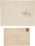 Autographs:Others, 1930 Lou Gehrig Signed Christmas Card with Mailing Envelope....