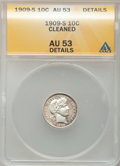 Barber Dimes: , 1909-S 10C --Cleaned-- ANACS. AU53 Details. NGC Census: (2/65).PCGS Population (3/64). Mintage: 1,000,000. Numismedia Wsl. ...