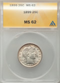 Barber Quarters: , 1899 25C MS62 ANACS. NGC Census: (44/147). PCGS Population(57/159). Mintage: 12,624,846. Numismedia Wsl. Price for problem...