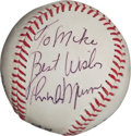 Autographs:Baseballs, Late 1970's Thurman Munson Single Signed Baseball, PSA/DNA NM-MT+ 8.5....
