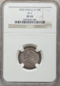 Bust Dimes: , 1820 10C Small 0 XF45 NGC. JR-7. PCGS Population (2/8). NumismediaWsl. Price for problem free NGC/PCG...