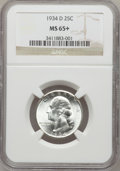 Washington Quarters: , 1934-D 25C Medium Motto MS65+ NGC. NGC Census: (133/43). PCGSPopulation (235/69). Mintage: 3,527,200. Numismedia Wsl. Pric...