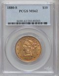 Liberty Eagles: , 1880-S $10 MS62 PCGS. PCGS Population (167/42). NGC Census:(224/36). Mintage: 506,250. Numismedia Wsl. Price for problem f...