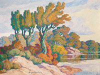 BIRGER SANDZÉN (American, 1871-1954) Early Fall, Smoky Hill River (Kansas), 1940 Oil on masonite