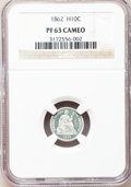 Proof Seated Half Dimes: , 1862 H10C PR63 Cameo NGC. NGC Census: (3/24). PCGS Population(5/11). (#84445)...
