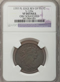 Large Cents, 1797 1C Reverse of 1795, Plain Edge --Obverse Scratched-- NGCDetails. VF. S-120a. NGC Census: (1/0). PCGS Population (0/10...