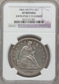Seated Dollars, 1866 $1 Motto--Improperly Cleaned-- NGC Details. XF. NGC Census:(0/71). PCGS Population (11/122). Mintage: 48,900. Numisme...