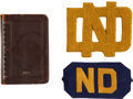 Football Collectibles:Others, 1931 Knute Rockne Memorial Game Player's Armband and Rockne's Personal Planner....