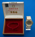 Timepieces:Wristwatch, Omega 14k Gold Seamaster, Silver Plate Box. ...