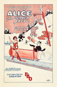 "Walt Disney's Alice the Lumberjack (FBO, 1926). One Sheet (27"" X 41"")"