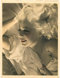 "Jean Harlow by George Hurrell (MGM, 1930s). Mother Harlow Signed Hand Tinted Portrait Photo (10.75"" X 14"")..."