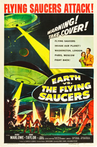 """Earth vs. the Flying Saucers (Columbia, 1956). One Sheet (27"""" X 41""""). Science Fiction"""